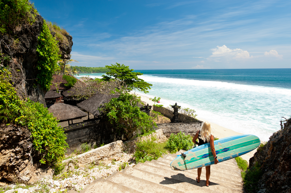 A,Surfer,Overlooking,A,Beach,In,Bali